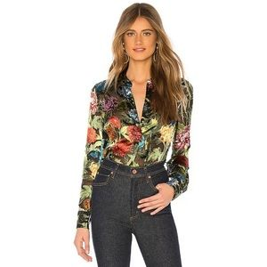 Alice + Olivia Amos Chinoiserie Floral Blouse XS